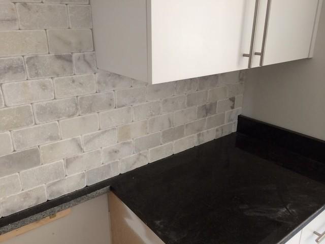 black pearl granite w/ white marble backsplash on Black Granite Backsplash  id=22605