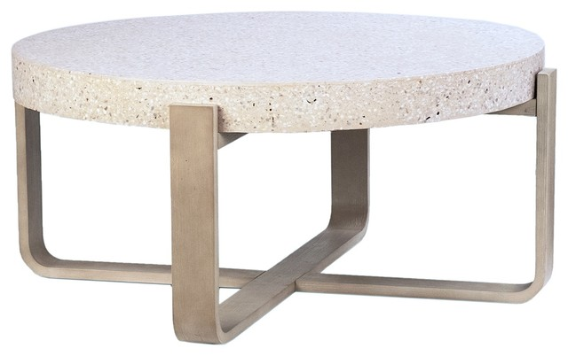 41 cristian coffee table white stone top round wooden natural base round