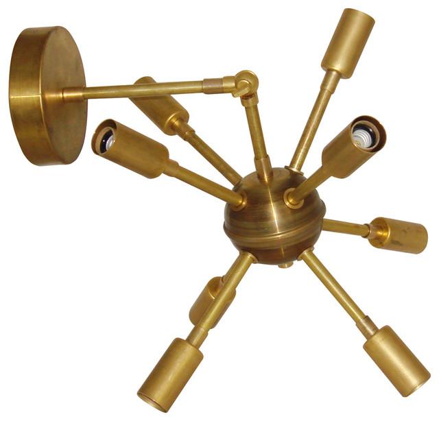 Raw Brass Mid-Century Modern Sputnik Starburst ... on Mid Century Modern Sconces id=11374
