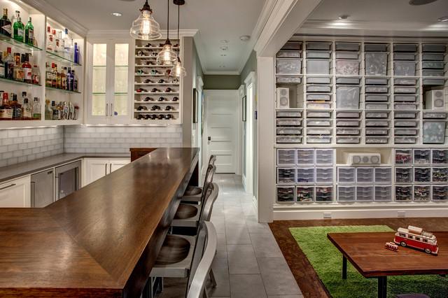 Basement Bar and LEGO room transitional-basement
