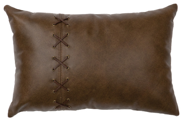 leather pillow 12x18 leather back