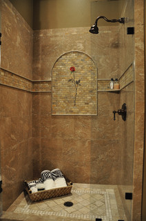 Marble Shower Rose Mural Tropical Bathroom Seattle