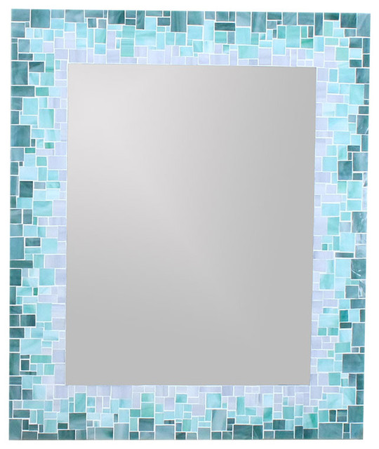sunburst mirror in glass mosaic tiles of blue green and grey glass tiles 16x20