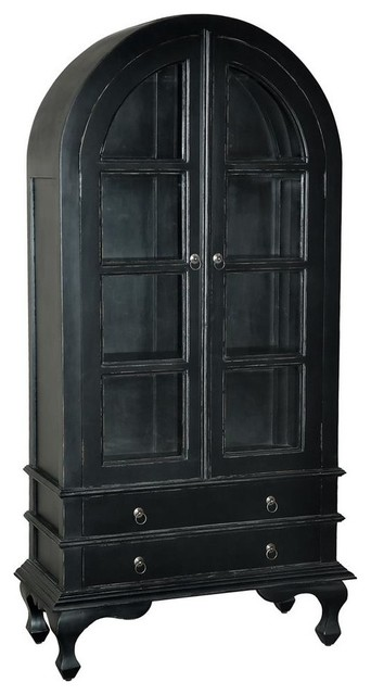 Wooden Cabinet In Light Distressed Black Finish