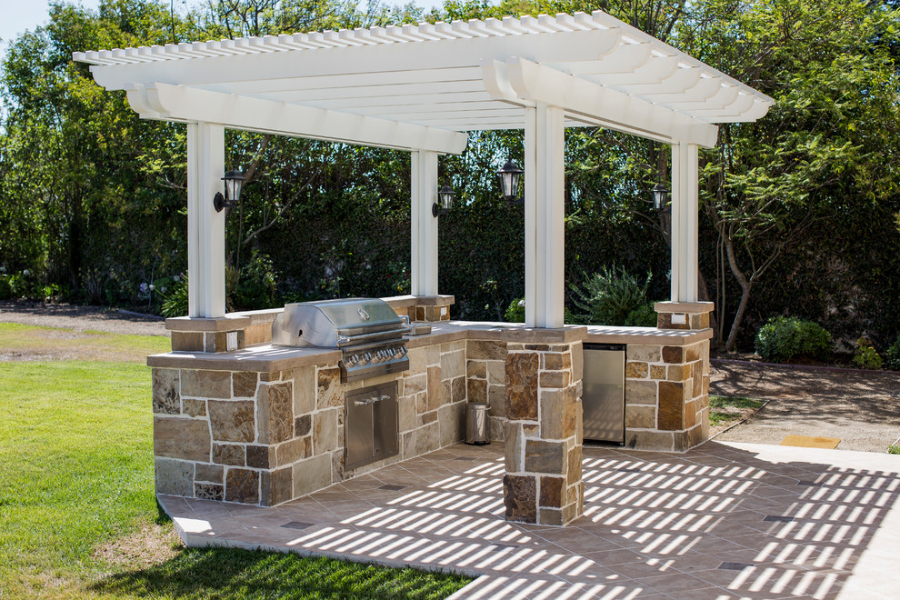 Backyard with BBQ Island and Outdoor Cooking Area in ... on Backyard Patio Grill Island id=52882
