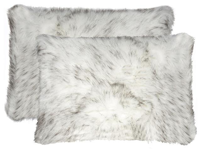 belton faux fur pillows set of 2 gradient gray 12 x20