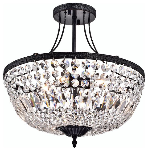 3 Light Crystal Semi Flush Mount Brushed Black Contemporary