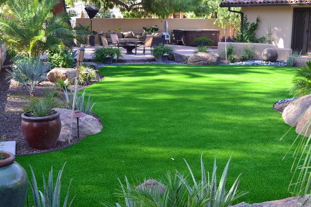 Synthetic turf lawn - Tropical - Landscape - Phoenix - by ... on Turf Backyard Ideas id=96791