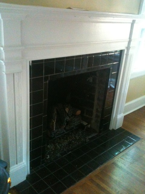 Fireplace With Tile Traditional Living Room Charlotte