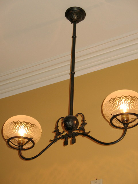Circa 1880 2 Light Victorian Chandelier Traditional
