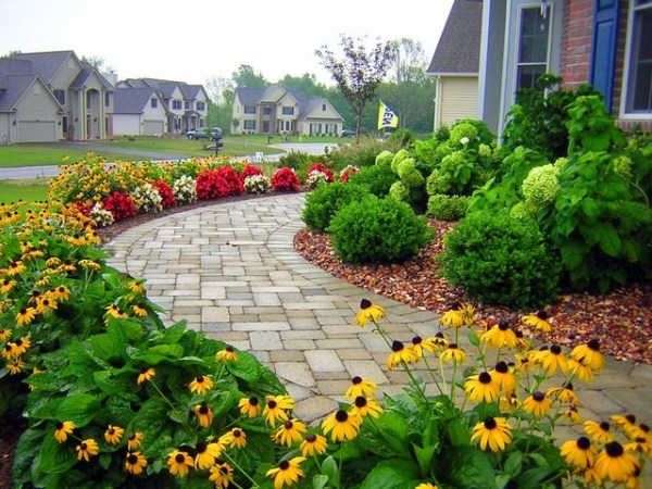sidewalk garden Residential Front Sidewalk - Traditional - Landscape - New
