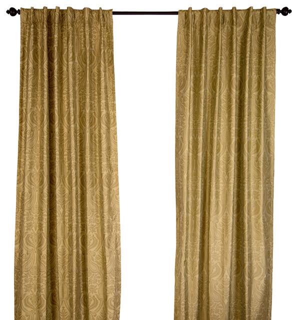 silk dupioni gold print sage green curtain panel sage green 108