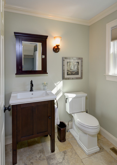 traditional half bath remodel - crown molding, tile floor