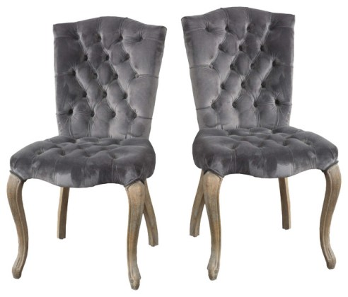 Elmerson Roll Back Dining Chairs  Set of 2   Transitional   Dining     Martino Velvet Charcoal Dining Chairs  Set of 2