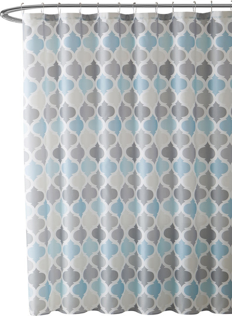 universal bathroom shower curtain for men or women muted tones of blue and gray