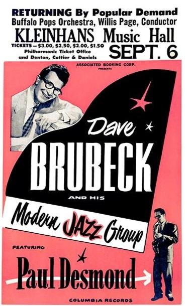 dave brubeck buffalo ny 1957 concert poster 8 5 x11