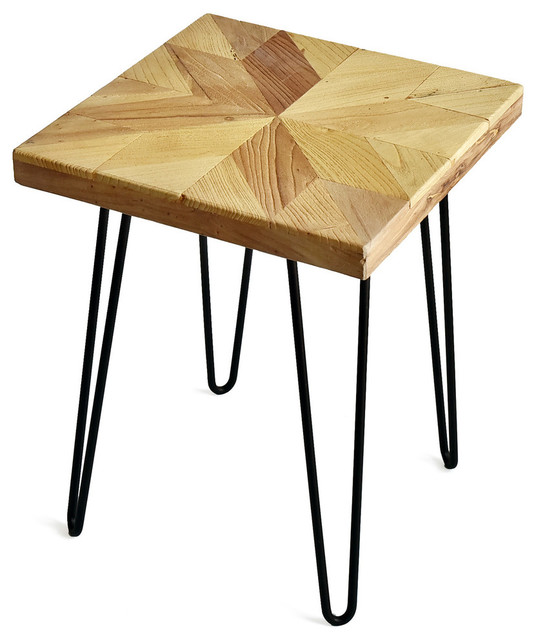 welland square old elm wood end table star pattern