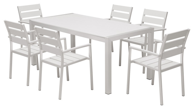 outdoor patio furniture aluminum resin 7 piece dining table and chair set