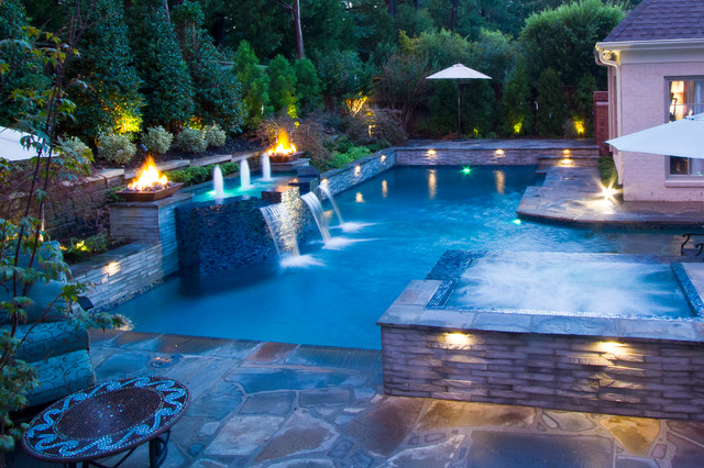 Collierville Modern Geometric Pool, Spa, & Outdoor Living ... on Outdoor Living Spa id=27439