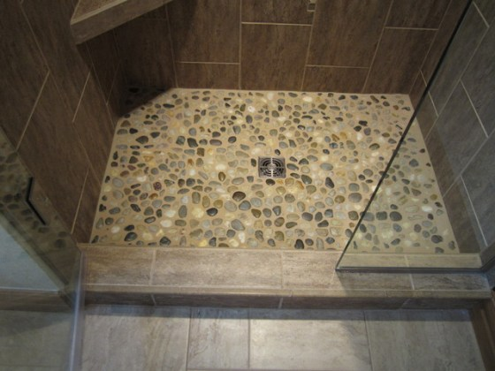 tile shower floor river rock tile shower floor river rock contemporary bathroom