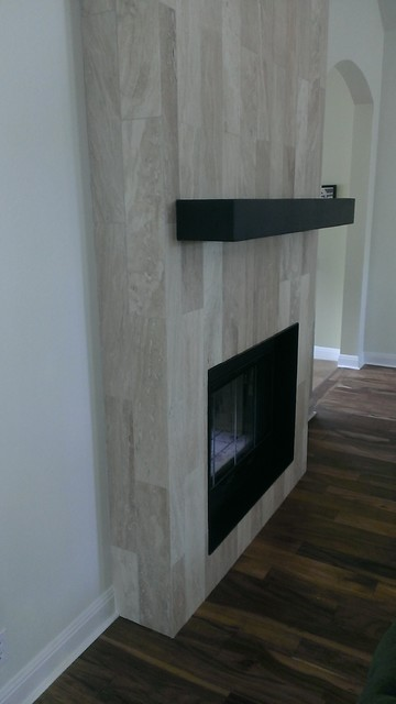 Fireplace 6 X 24 Travertine Plank Tile Contemporary Living Room Austin By Custom