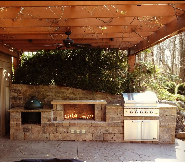 Cincinnati Ohio Outdoor Fireplace and Built in Grill ... on Outdoor Grill Patio id=50456