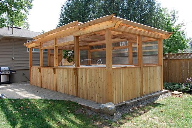 Enclosed Cedar Pergola for Outdoor Swim Spa - Traditional ... on Inclosed Patio Ideas  id=40839