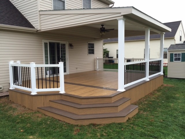 Lean-to roof over two toned Clubhouse deck - Modern - Deck ... on Deck Over Patio Ideas id=91335