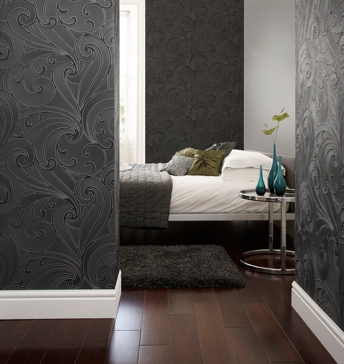 Saville Wallpaper, Black, 20