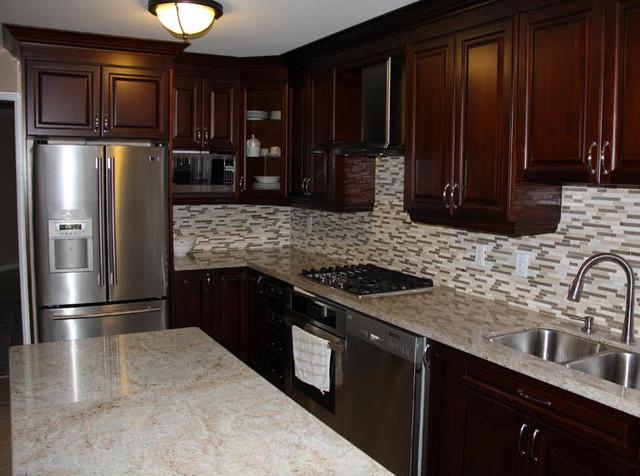 Dark Cherry Coloured Custom Kitchen Cabinets with Granite ... on Maple Kitchen Cabinets With Black Granite Countertops  id=15032