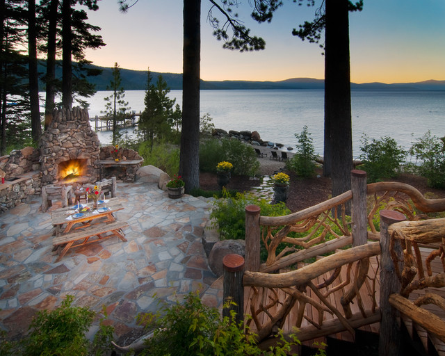 Lakeside Patio with Fireplace - Traditional - Patio ... on Lakefront Patio Ideas id=75923