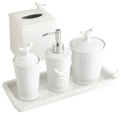white bird stoneware bath accessories