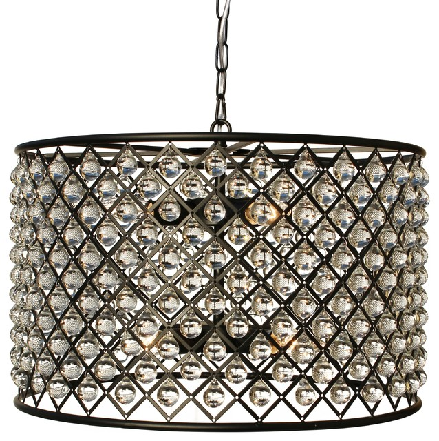 Cassiel Crystal Drum Chandelier Black Contemporary Pendant Lighting