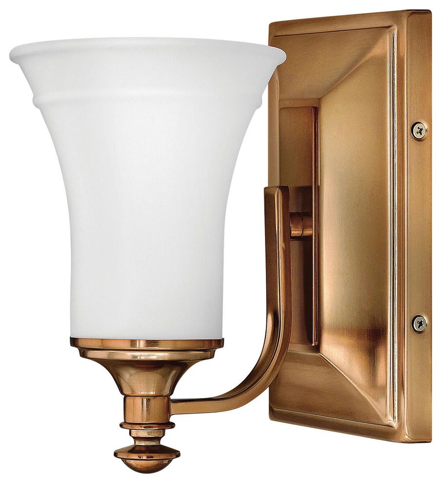 Hinkley Alice 1-Light Brushed Bronze Bathroom Sconce ... on Bathroom Sconce Lights Brushed Bronze id=60787