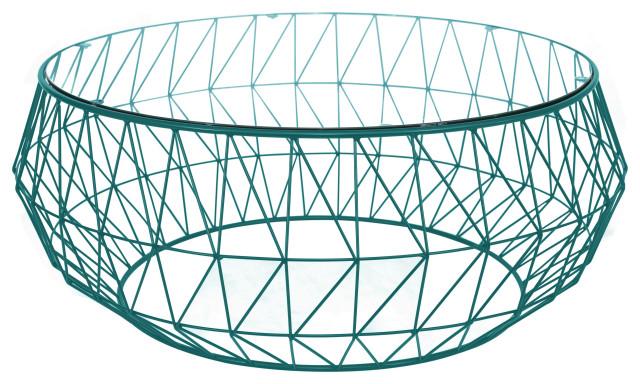 leisuremod malibu modern round glass top coffee table with chrome wire base blu