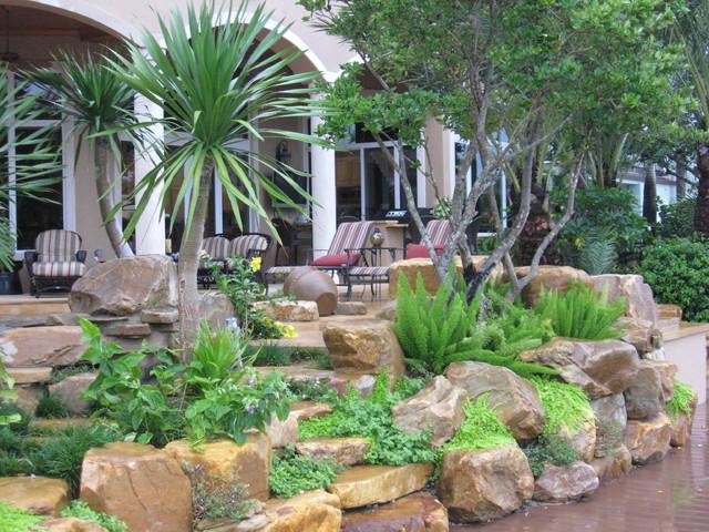 Tropical backyard rock garden wall - Tropical - Patio ... on Tropical Backyard  id=91808