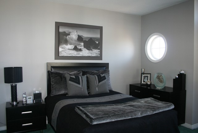 grey & black bedroom - contemporary - bedroom - ottawa - by