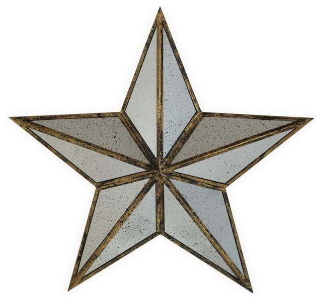 Large Silver Metal Mirror Star Wall Art Home Accent Decor