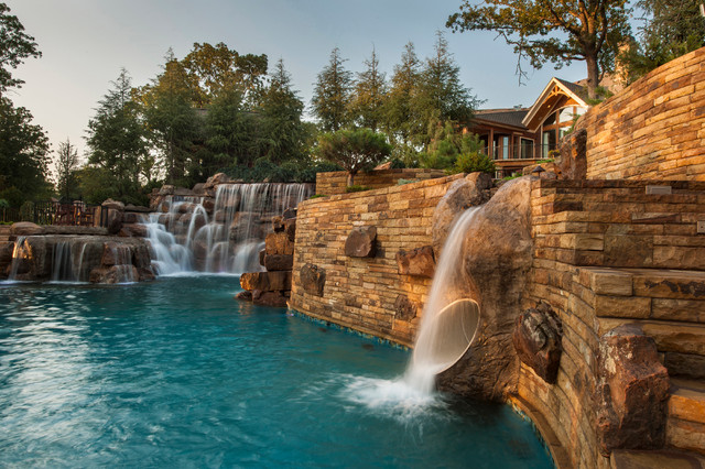Mountain Mine-Themed Pool With Waterfalls, Slide and More ... on Mountain Backyard Ideas  id=69846