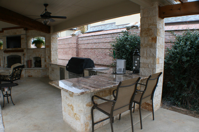 Fort Worth Covered Patio with Pergola Outdoor Kitchen and ... on Covered Outdoor Kitchen With Fireplace id=94163