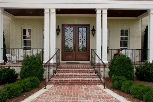 Porch Brick Front Porch Steps Curved | House Front Step Design | Aspen Designer Home | Simple | Mansion | Curved | Entrance Home