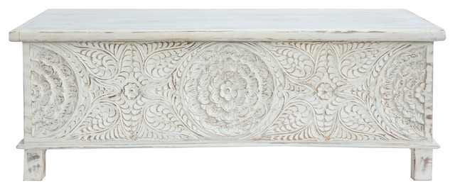 17th c anglo trunk coffee table white