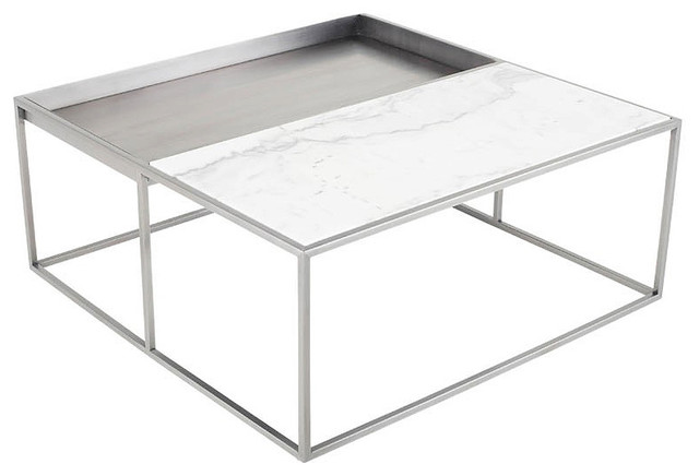 corbett square coffee table stainless steel coffee table modern white marble
