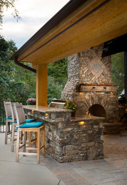 Outdoor fireplace with grill island and big green egg on Backyard Patio Grill Island id=41559