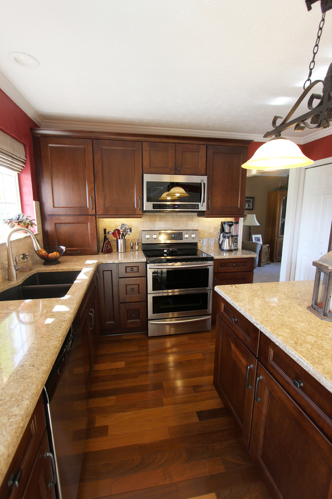Gingersnap Maple Cabinets with Beige Quartz Countertop ... on Maple Kitchen Cabinets With Quartz Countertops  id=41059