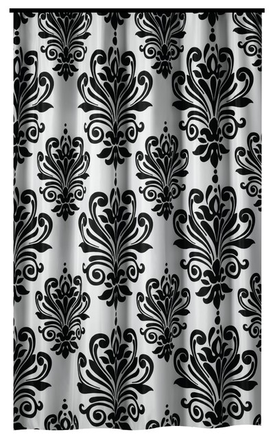 extra long shower curtain 72 x 78 gamma black and white baroque fabric