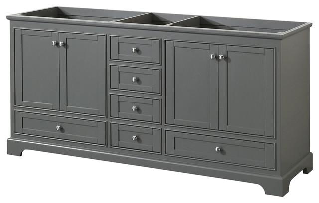 deborah 72 double bathroom vanity dark gray no top no sink
