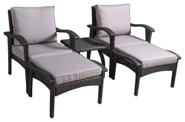 Maui Outdoor Gray Wicker Seating With Cushions 5-Piece Set