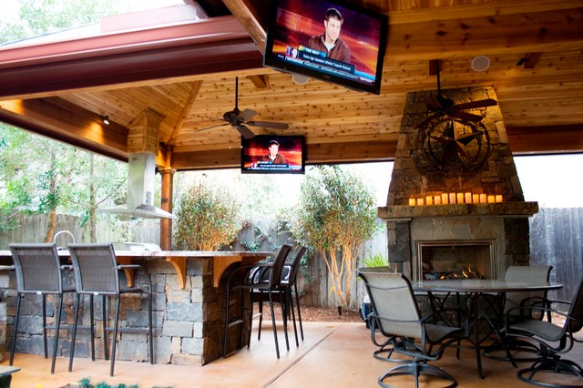 Outdoor Living Spaces - Rustic - Patio - houston - by Wood ... on Outdoor Living And Patio id=70898