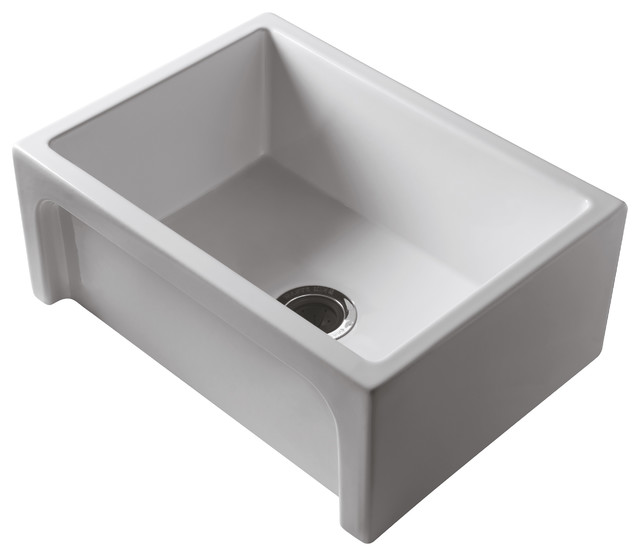 Italian Fireclay Reversible White Single Bowl Sink Contemporary Kitchen Sinks By Sink Source